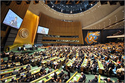 World leaders attending the U.N. General Assembly meeting in New York want to work together to solve the financial crisis. Here, French President Nicolas Sarkozy addresses the gathering on Tuesday.