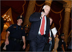 Republican presidential contender John McCain, the senator from Arizona, has decided to meet rival Barack Obama, the Democratic U.S. senator from Illinois, for a debate at the University of Mississippi in Oxford Friday night. Here, McCain is seen on Capitol Hill Friday.