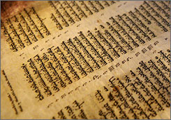 The Aleppo Codex on display at the Israel Museum in Jerusalem. One-third of the pages have vanished. For some scholars, they have become a kind of Holy Grail.