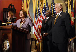 House Speaker Nancy Pelosi, D-Calif., speaks during a news conference in September on energy legislation along with House Majority Whip James Clyburn, D-S.C., center, and House Majority Leader Steny Hoyer, D-Md., right. Debate over a new energy policy will wait until next year.