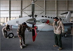 Iraq has purchased 12 new U.S. reconnaissance planes, officials in Baghdad say. Six of the the aircraft  King Air planes  have been delivered. Here, members of the Iraqi Air Force examine and Beechcraft King Air 350 aircraft in Baghdad in December 2007.