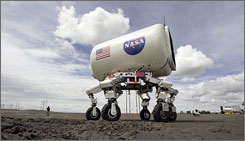 Earlier this year in Moses Lake, Wash., NASA tested a vehicle called the All-Terrain Hex-Legged Extra Terrestrial Explorer. Scientists and contractors for the space agency spent two weeks in Moses Lake field testing vehicles and robots meant for use in a return trip to the moon.