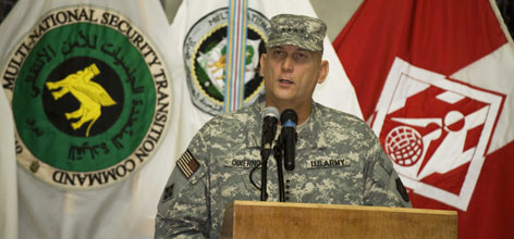 Gen. Ray Odierno delivers remarks during a change of command ceremony inside the Al-Faw Palace at Camp Victory on Sept. 16, in Baghdad.
