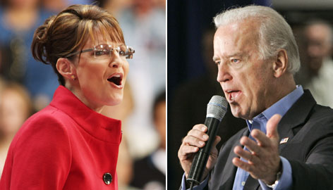 Sarah Palin, who will debate Joe Biden Thursday night, speaks during a September campaign rally in Bexley, Ohio. Biden, also shown at a September event, campaigns in Akron, Ohio.