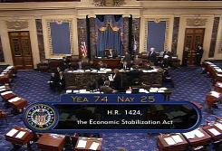This video grab shows the Senate floor after a vote to approve the $700 billion financial rescue package Wednesday night on Capitol Hill. The bill passed by a 74-25 margin.