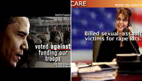 "The Vets for Freedom ad, called ""Skipped,"" says that Sen. Barack Obama voted against emergency funds for U.S troops, and an ad, named ""One Heartbeat Away,"" from the nation's largest union of registered nurses, criticizes Sarah Palin."