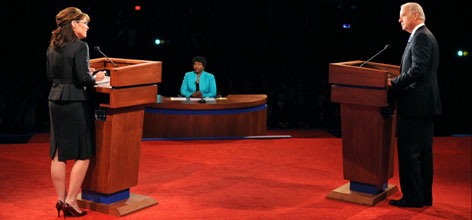Democratic vice presidential candidate Joe Biden, left, is facing off in tonight's vice presidential debate against Republican vice presidential candidate Sarah Palin, right.