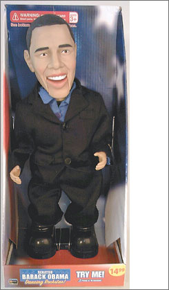 "The Illinois-based Walgreens Co. is pulling dolls of the presidential candidates off its shelves because the novelty items recite slogans that were not approved by the candidates and that have offended customers. Here, the doll depicting Democratic presidential candidate Barack Obama, which proclaimed ""The senator from Illinois gets down and funky,""  is shown."