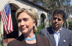 Sen. Hillary Clinton attended a private fundraiser on Friday at the home of Jose Villareal, right. 