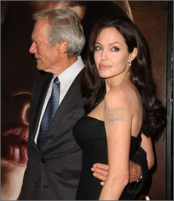 Clint Eastwood and Angelina Jolie attend the premiere of Changeling at New York's Ziegfeld Theater on Saturday.