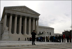 People line up to enter the U.S. Supreme Court Building in Washington, D.C. earlier this year.