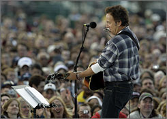 Rocker Bruce Springsteen performed an acoustical set at an outdoor voter registration concert at Eastern Michigan University in Ypsilanti in the late afternoon.