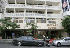 Two American journalists were last seen at the Mozart Hotel in the commercial Hamra district, in Beirut.
