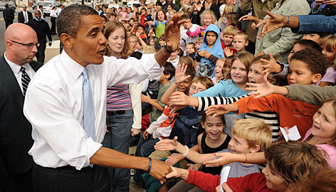 Barack Obama meets Springfield Township Elementary students in Glenside, Pa., on Friday.