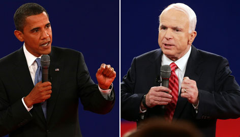 While John McCain, right, lost ground on voter confidence in his economic policy, Barack Obama, left, gained points on foreign policy, according to a new USA TODAY/Gallup Poll.