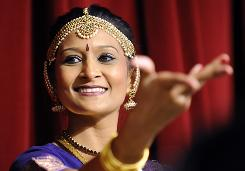 Dancer Payal Vasa performs during a ceremony at the Jain Center in Buena Park, Calif., in September.