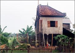 cambodian house cut in half