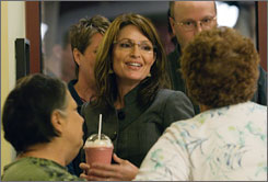Alaska lawmakers concluded that Republican vice presidential candidate Sarah Palin, governor of Alaska, abused her power under her administration. Here, Palin is seen on Thursday talking to supporters in Deerfield Township, Ohio.