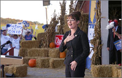 Republican vice presidential candidate Gov. Sarah Palin of Alaska greets supporters at a rally at Brush Run Park near St. Clairsville, Ohio, Sunday.