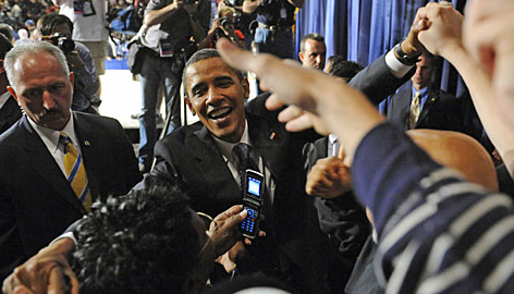 "speech: Barack Obama greets supporters Monday in Toledo, Ohio, after urging passage of his ""emergency rescue plan as soon as possible."""