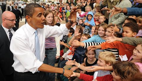 Presidential candidate Barack Obama greets students from Springfield Township Elementary in Glenside, Pa., Oct. 3. In a straw poll of 250,000 K-12 students, 57% picked Obama for president.