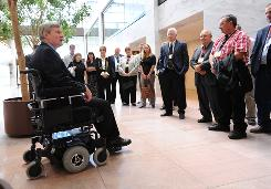 Democratic Sen. Tim Johnson, 61, speaks to constituents at his Washington, D.C., office building last month. The senator, who battled back from a December 2006 brain hemorrhage, will likely win another term this November.