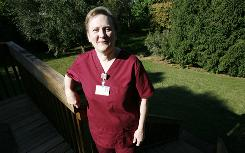 Pauline Taylor, an OR nurse, at home in Iowa City, says she won't get the flu vaccine.
