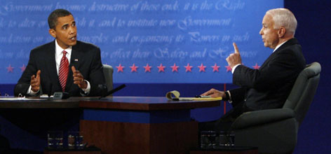 Barack Obama, left, and John McCain, right, faced off in their final debate tonight at Hofstra University in Hempstead, N.Y. Bob Schieffer moderated the debate.