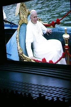 Pope John Paul II is seen in a frame from a film screening at the Vatican on Oct. 16, the 30th anniversary of the John Paul II's election as a pontiff.