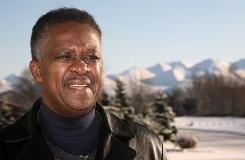 Rev. Alonzo Patterson pastor of Shiloh Missionary Church, stands outside of the church in Anchorage, Oct. 13, and talks about Gov. Sarah Palin. Patterson is among Alaska's black ministers and business leaders who have urged Palin to hire more minorities to senior government positions.