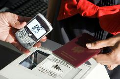 Air France started using electronic boarding passes on mobile phones in September. The only paper document needed from fliers with electronic boarding passes is a personal ID.
