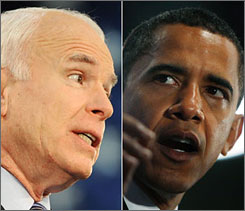 Republican presidential candidate John McCain, left, and Democratic presidential candidate Barack Obama, right, are each campaigning in their respective rival's stronghold territory. Here, McCain is seen Tuesday in Bensalem, Pa., and Obama is seen Tuesday in Lake Worth, Fla.