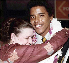 Democratic presidential candidate Barack Obama, seen here in 1979, is breaking from his campaign schedule to travel to Hawaii to be with his gravely ill grandmother, Madelyn Payne Dunham.