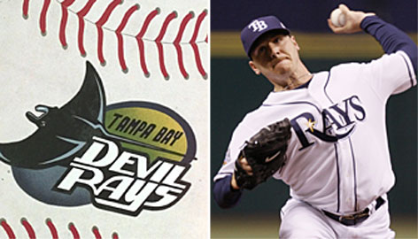 The Tampa Bay Devil Rays logo on Tropicana Field, left, and the new Rays uniform on pitcher Scott Kazmir this year.