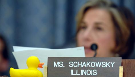 A rubber duck sits on the desk of Rep. Jan Schakowsky, D-Ill., during a June Capitol Hill hearing of the House Commerce, Trade and Consumer Protection subcommittee on the safety of phthalates and BPA in consumer products.