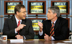 GOP's Bob Schaffer, left, debates Rep. Mark Udall, D-Colo., about the economy during a Meet the Press taping last month.