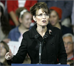 Republican vice presidential candidate Sarah Palin speaks at a rally in Fort Wayne, Ind., on Saturday.