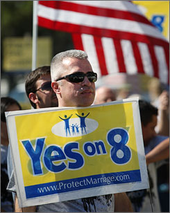 Supporters of Proposition 8 rally Friday at St. Frances X Cabrini Church in Los Angeles.