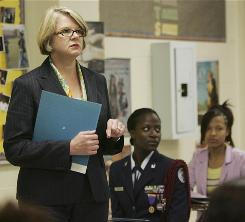 Education Secretary Margaret Spellings talks to students at Columbia High School  about going to college Tuesday in Columbia, S.C.