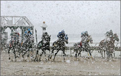 Horses break from the starting gate for Tuesday's race at Philadelphia Park in Bensalem, Pa., as a seasonally early snowstorm charges in.