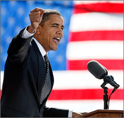 Democratic presidential nominee Barack Obama presses his case Wednesday at a rally in Raleigh, N.C. Obama's campaign is broadcasting a 30-minute infomercial on several major networks Wednesday night.