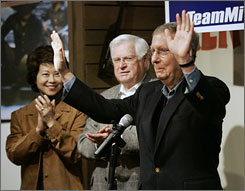 Republican Sen. Mitch McConnell, right, made a campaign stop in Mount Vernon, Ky., on Thursday with his wife, Labor Secretary Elaine Chao, and Republican Rep. Hal Rogers.