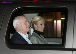 Republican presidential candidate John McCain and wife, Cindy, arrive at NBC studios in New York for their appearance on Saturday Night Live.