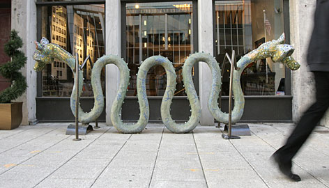Downtown officials plan to install 10 more bike-rack sculptures such as this one in front of the Actors Theatre of Louisville.