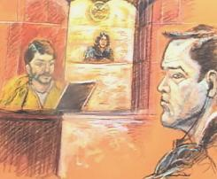 In this illustration, defendant Franklin Duran, right, sits in a Miami courtroom on Oct. 21 as business partner Carlos Kauffmann testifies. A federal jury in Miami on Monday convicted Duran of acting as an illegal foreign agent in the U.S. to cover up a Latin American political scandal involving a suitcase full of cash.