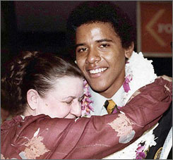 Barack Obama is seen here with his grandmother, Madelyn Payne Dunham, at his high school graduation in Hawaii in 1979.