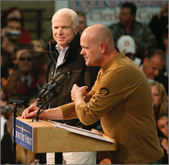 """Joe """"The Plumber"""" Wurzelbacher, seen here with Republican presidential candidate John McCain in Mentor, Ohio, has been vaulted into the public eye via his role in the campaign."""