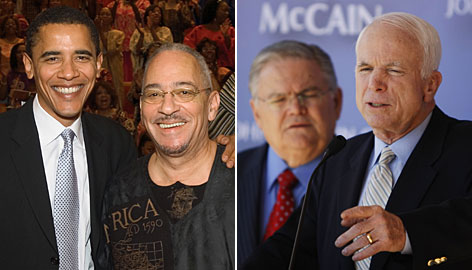 Democratic candidate Barack Obama with Rev. Jeremiah Wright, left, and John McCain with Rev. John Hagee. Both pastors made statements during the election season that garnered negative attention and led the candidates to distance themselves from the ministers.