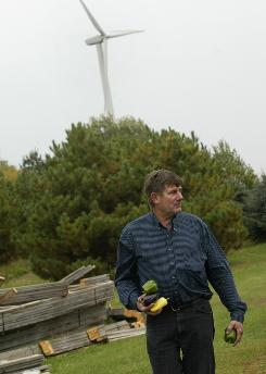 Gerry Meyer, at first neutral on the subject of wind turbines, now leads the fight to increase set back requirements at wind farms. Meyers family and many of his neighbors have experienced illness and fatigue from the noise and light flicker of turbines near homes near Byron, Wis.