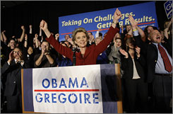 Washington Gov. Chris Gregoire cheers as she gets ready to address a crowd at the Washington State Democratic Party election night party Nov. 4, 2008, in Seattle. Gregoire has declared victory as she maintains a lead in a hotly contested rematch with Republican Dino Rossi. With about 42% of the expected ballots counted Tuesday, Gregoire had about 52% of the vote compared to Rossi's 48%.